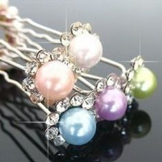 Lovely Multicolor Pearl Hairpins - Set