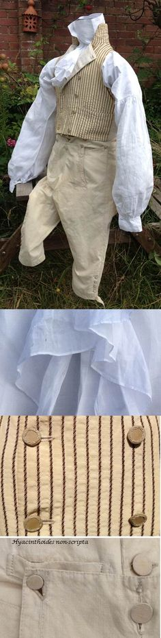 A gentleman in his shirt sleeves! He wears early 19th C linen shirt, c1800 striped waistcoat and 1790-1800 breeches. Books of the whole Sylvestra Regency Fashion collection available! http://www.blurb.co.uk/search/site_search?search=sylvestra+regency