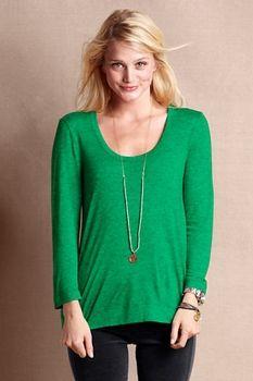 Women's Buttonback Scoopneck Tee  - Anchor Green Heather, M