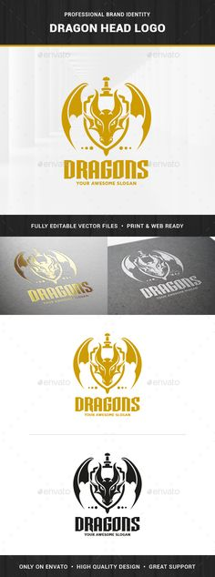 Buy Dragon Head Logo Template by LiveAtTheBBQ on GraphicRiver. The Dragon Head Logo Template An awesome and creative dragon logo for many kinds of business and projects. Logo Dragon, Fantasy Logo, Logos, Wings Logo, Typo Logo, Dragon Head, Best Logo Design, Graphic Design, Cool Business Cards