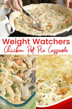 Weight Watchers Chicken Pot Pie Casserole - Healthy Point Recipes Weight Watchers Chicken Pot Pie Ca Weight Watchers Snacks, Poulet Weight Watchers, Weight Watchers Casserole, Plats Weight Watchers, Weight Watchers Meal Plans, Weight Watcher Dinners, Weight Watchers Enchiladas, Healthy Pie Recipes, Healthy Casserole Recipes