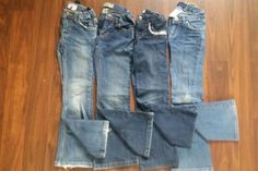 Two on left are 6x/7. Two on right are size 7.  $1 each. Garage, Jeans, Fashion, Carport Garage, Moda, Fashion Styles, Garages, Fashion Illustrations, Denim
