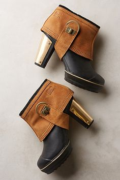 """Sorel """"Medina II"""" Rain Booties, Black & Tan with Brass Heels (Anthropologie) Crazy Shoes, Me Too Shoes, Bootie Boots, Shoe Boots, Women's Boots, Black Boots, Rain Boots, Ankle Boots, Mode Chic"""