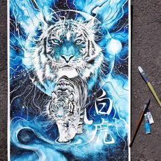 """""""White Tiger"""" Watercolor on paper Fabriano Artistico size 50x70cm 300gsm. #watercolor #illustration #painting #tiger #watercolour #galaxy #blue by #jongkie #byakko"""