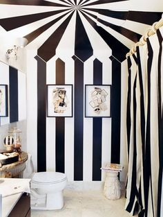 Over the (Big) Top: Grown-Up Circus Style at Home -- A trippy paint treatment in the bathroom of designer Stephen Shubel. Style At Home, Tent Room, Decoracion Vintage Chic, Interior And Exterior, Interior Design, Home Design, White Shower, Striped Walls, Striped Hallway