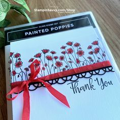 Line Art Images, Poppy Cards, Basic Tools, Quick Cards, Ink Pads, Stampin Up Cards, Thank You Cards, Poppies, Birthday Cards