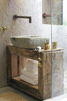 bathroom style. Inspiration. LOVE the rustic timber with the stone bowl.
