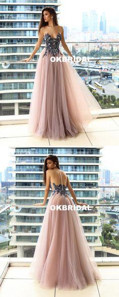 Sparkle Beaded Sleeveless Prom Dresses, Cheap Tulle A-Line Prom Dresses, KX838 #okbridal #promdresses