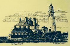 St. Mary's Island, Whitley Bay Northumberland August 1994. Pen drawing