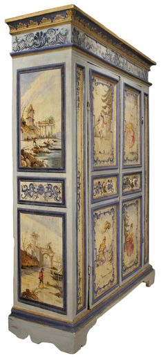 An century Venetian two door painted armoire For Sale at Buffet Antique, Armoire Antique, Painted Armoire, Antique Wardrobe, Painted Doors, Antique Dressers, Painted Closet, Antique Chest, Painting Wooden Furniture