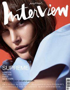 Catherine McNeil plays in a cover story by Dario Catellani for the December/January 2014/2015 issue of Interview Germany, styled by fashion editor Andreas Krings.