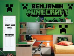 ON SALE Ultimate Minecraft Logo Inspired Room Package -Wall Decal Vinyl Sticker- XL Logo - Personalized Name - Creeper Images - Door Set