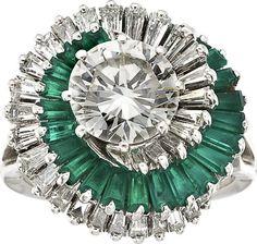 Diamond, Emerald, Platinum Ring.