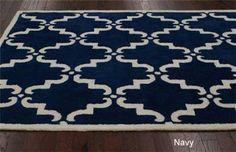 dk blue scroll rug
