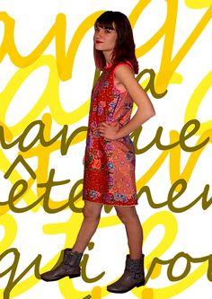 ROBE BATIK rumdul rouge,rouille,abricot,rose clair, sans manches motifs floraux  mm-creations-encorewhat.com