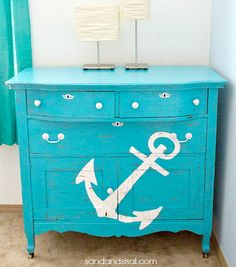 Blue Painted Dresser/Cabinet Nautical. Featured on CC: http://www.completely-coastal.com/2015/04/paint-it-bright-blue-home-decor-ideas.html
