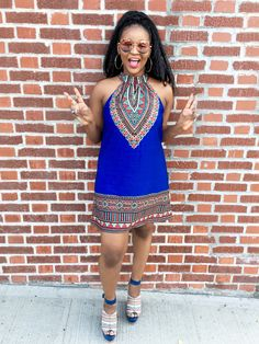 No Country For Old Trends | Blue Aztec Dress