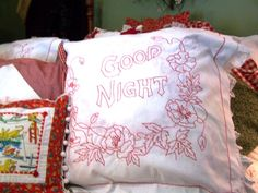 Sweet red, cottage pillows (from Cherry Hill Cottage)