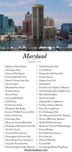 Die ultimative Maryland Bucket List - Travel and Extra Usa Travel Guide, Travel Usa, Travel Tips, Travel With Kids, Family Travel, Visit Maryland, Smith Island, Patterson Park, Bucket Light