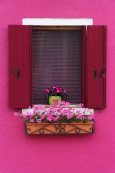 pink - the open window space has painted shutters in it. Red Shutters, Painting Shutters, Rosa Pink, Window Planter Boxes, Open Window, Window View, Pink Houses, Through The Window, Flower Boxes