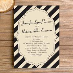 classic black stripes vintage wedding invitations EWI291 |