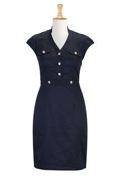 Nautical Blue Dresses, Gold Button Chic Dresses Shop women's fashion clothes, party dresses, plus size evening dresses, elegant dresses, wom...