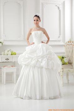 Princesa Estilo evase traje de novia de tafetan pick up
