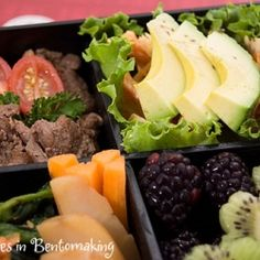 Leftover Korean BBQ beef makes up one of four sections in this bento lunch packed into a beautiful lacquer box.