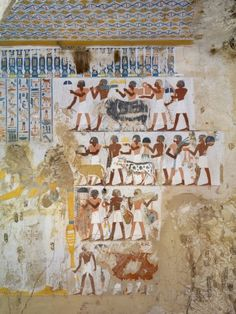 Egypt, Thebes, Luxor, Sheikh 'Abd El-Qurna, Tomb of Paser, Detail of Fresco