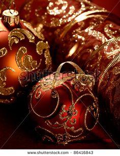 Elegant red christmas ornaments