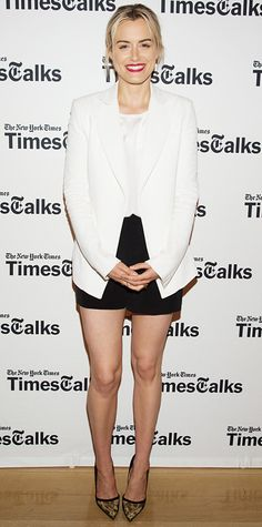 "Taylor Schilling smartened up her look at the ""Times Talks"" event by topping off her white top and black tailored shorts with a sharp white crepe Wes Gordon blazer and gold embroidered black pumps."