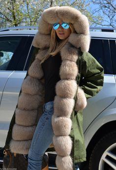 New 2015 Military Parka Fox Fur Coat Class Tortora Sable Chinchilla Mink Jacket   eBay