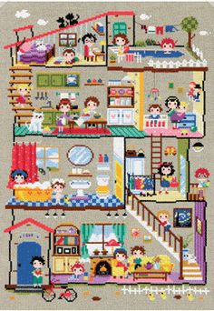 Cute modern cross stitch patterns and kits - little house featuring cute scenes, daily activities motifs on Etsy, €6,23