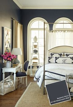navy and white bedroom (with some warm neutrals) [Newburyport Blue (HC-155) by Benjamin Moore]