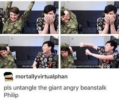 Oml like dude phil is just like oml let me.oh my do u want help? Dan Howell, Daniel James Howell, Phil Lester, Phan Is Real, Dan And Phill, Phil 3, Danisnotonfire And Amazingphil, Cat Whiskers, Tyler Oakley