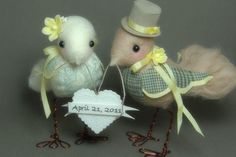 Made to Order. Custom Needle Felted Love Birds. You by BentBranch