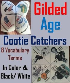 These cootie catchers/ fortune tellers are a great way for students to have fun while learning about the Gilded Age in the United States. How to Play and Assembly Instructions are included.These cootie catchers contain the following vocabulary terms: Robber Barons, Andrew Carnegie, JD Rockefeller, JP Morgan, Capitalism, Monopoly, Labor Unions, Thomas Edward WatsonThese cootie catchers come in color and black & white, and also come with a version where students...