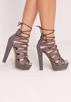 8df71af20f7d Missguided - Laser Cut Platform Sandals Grey Grey High Heels