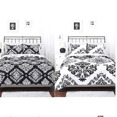 Reversible Bed Spread. Love the black and white. Master bedroom?