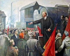 1917 Russian Revolution - Lenin Rallying the revolutionary workers and soldiers at a factory.