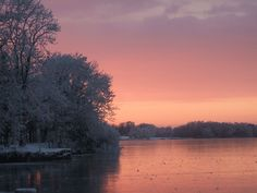 Sunset over a frozen lake - Lough Owel, Mullingar | Flickr - Photo Sharing!