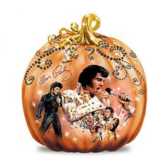 If you want to have a rockin' Halloween, you need the ultimate Elvis Halloween decoration, and this collectible first-ever illuminated and musical Elvis Presley® jack-o-lantern sculpture is so perfect it's scary!