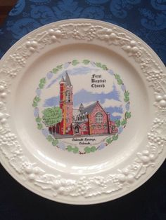"First Baptist Church Colorado Springs, CO nice Scarce vintage 10"" plate 1960's 