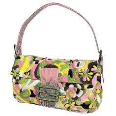 1240f0e0b5cc New Vintage Fendi Hand Sewn Embroidered Lizard Baguette Bag