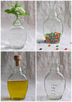 Lolly jar made from Maple syrup bottles - like the M & M's candy storage idea Crafts With Glass Jars, Mason Jar Crafts, Bottle Crafts, Mason Jars, Recycled Crafts, Recycled Glass, Maple Syrup Bottles, Lolly Jars, Bottle Art