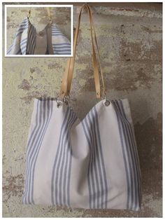 Bolso de tela para colgar al hombro en tapicería de rayas azules