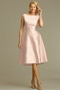 A-Line/Princess Bateau Tea-length Satin Mother of the Bride Dress