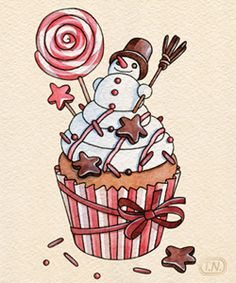christmas cupcakes by Natalia Tyulkina, via Behance