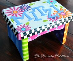 Painted Stool Child's Foot Stool by TheDecorativeBrush on Etsy, $45.00