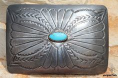 Vintage 1970 Southwestern Navajo Style Sterling Silver Turquoise Belt Buckle by Yourgreatfinds, $125.00